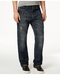 Sean John Men's Patch-pocket Hamilton Relaxed Fit, Destructed Jeans, Only At Macy's - Blue