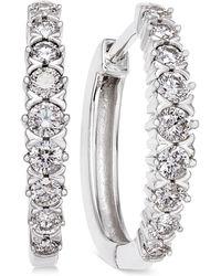 Macy's - Diamond Hoop Earrings (1/2 Ct. T.w.) In 14k White Gold - Lyst