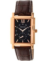 Heritor Automatic Frederick Rose Gold & Silver Leather Watches 32mm - Brown