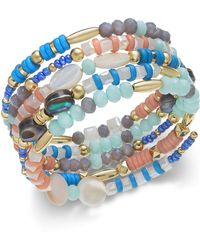 INC International Concepts I.n.c. Gold-tone Multi-bead Coil Bracelet, Created For Macy's - Blue