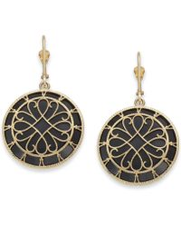 Macy's - Onyx Filigree Medallion Drop Earrings In 14k Gold - Lyst
