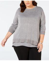 Joseph A Plus Size Split-back Layered Sweater - Gray