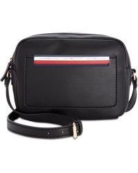 dfc4030094 Tommy Hilfiger Pebble Leather Logo Camera Bag in Black - Lyst