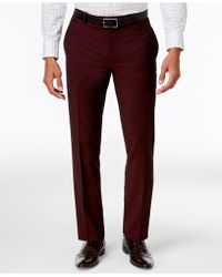 INC International Concepts Slim-fit Burgundy Pants, Created For Macy's