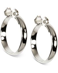 """Anne Klein - Silver-tone E-z Comfort Clip 1 1/4"""" Wide Hoop Earrings - Lyst"""