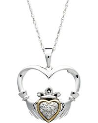 Macy's - 14k Gold And Sterling Silver Pendant, Diamond Accent Claddagh Pendant - Lyst