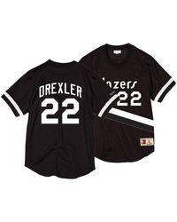 Mitchell   Ness - Clyde Drexler Portland Trail Blazers Black   White Mesh  Name And Number d7e5b38d8