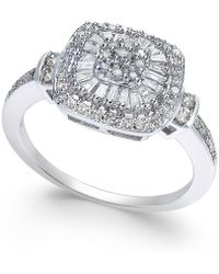 Macy's | Diamond Vintage-inspired Engagement Ring (1/2 Ct. T.w.) In 14k White Gold | Lyst