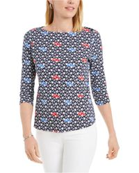 Charter Club Printed Boat-neck Pima Cotton Top, Created For Macy's - Blue
