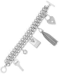 Guess - Ribbon And Chain Pavé Charm Bracelet - Lyst