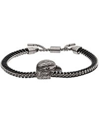 Armani Eagle Head Stainless Steel Id Bracelet - Black