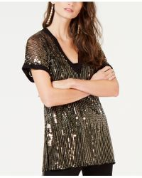 INC International Concepts - I.n.c. Petite V-neck Sequined Top, Created For Macy's - Lyst