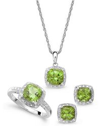 Macy's - Sterling Silver Jewelry Set, Peridot (4-3/4 Ct. T.w.) And Diamond Accent Necklace, Earrings And Ring Set - Lyst