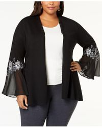 Alfani - Plus Size Embroidered Chiffon-sleeve Cardigan, Created For Macy's - Lyst