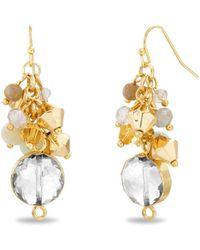 Catherine Malandrino Beaded Cluster Drop Earrings - Metallic