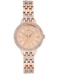 Badgley Mischka Ladies Rose Gold-tone Bracelet With Swarovski Crystal Accents Watch 30mm - Metallic