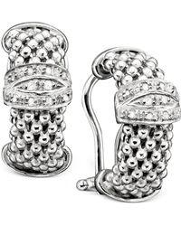 Macy's - Sterling Silver Earrings, Diamond Mesh (1/5 Ct. T.w.) - Lyst