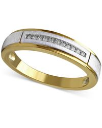 Beautiful Beginnings - Men's Diamond Accent Wedding Band 14k Gold And White Gold - Lyst
