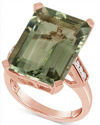 Macy's - Green Quartz (15 Ct. T.w.) & Diamond (1/5 Ct. T.w.) In 14k Rose Gold - Lyst