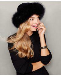 The Fur Vault Fox-fur-trim Cashmere Hat - Black
