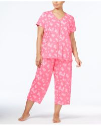 Charter Club - Plus Size Loop-trimmed Top And Cropped Trousers Pyjama Set - Lyst
