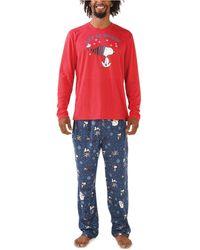 Munki Munki Snoopy Let It Snow Family Pajama Set - Blue