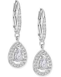 Swarovski - Silver-tone Crystal Pavé Drop Earrings - Lyst
