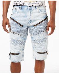 Heritage America Men's Studded Ripped Denim Shorts - Blue