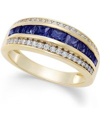Macy's Sapphire (1-1/10 Ct. T.w.) & Diamond (1/6 Ct. T.w.) Ring In 14k Gold (also Emerald And Ruby) - Blue