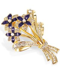 Charter Club Gold-tone Navy Crystal Flower Bouquet Box Pin, Created For Macy's - Blue