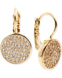 Anne Klein Crystal Pavé Disc Drop Earrings - Metallic