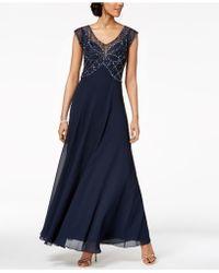 J Kara - Embellished Illusion Gown - Lyst