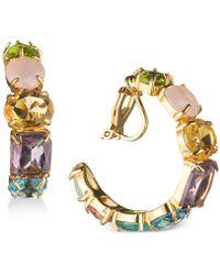 Carolee - Gold-tone Multi-stone Clip-on Hoop Earrings - Lyst