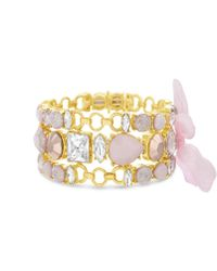 Catherine Malandrino - Light Pink Clear And Pastel Pink 3-row Pink Ribbon Yellow Gold-tone Trio Link Bracelet Set - Lyst