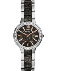 Fossil - Women's Virginia Dark Pearlized Acetate And Stainless Steel Bracelet Watch 30mm Es3918 - Lyst