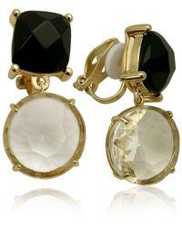 T Tahari Semi-precious Clip Earring - Metallic