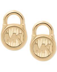 Michael Kors | Gold-tone Stainless Steel Logo Padlock Stud Earrings | Lyst