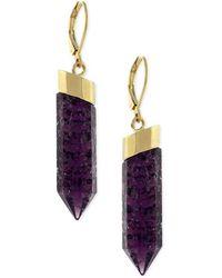 Vince Camuto - Gold-tone Purple Stone Drop Earrings - Lyst