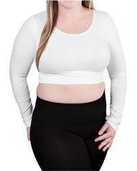 Skinnytees Plus Long Sleeve Crop Top - White