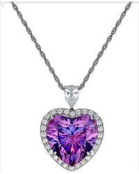 Arabella - Purple And Clear Swarovski Zirconia Heart Necklace In Sterling Silver - Lyst