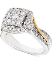 Macy's Diamond Two-tone Square Halo Cluster Engagement Ring (1-1/4 Ct. T.w.) In 14k Gold & White Gold - Metallic
