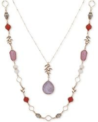 """Lonna & Lilly - Gold-tone Stone & Bead 34"""" 2-in-1 Necklace - Lyst"""