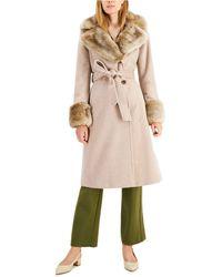 Via Spiga - Faux-fur-trim Belted Wrap Coat - Lyst