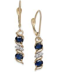 Macy's | Sapphire (1-1/5 Ct. T.w.) & Diamond Accent Drop Earrings In 14k Gold | Lyst
