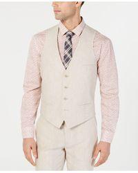 Bar Iii Slim-fit Linen Suit Vest, Created For Macy's - Multicolor