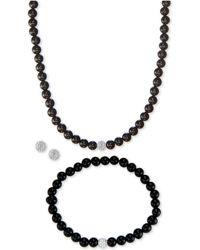 Macy's - 3-pc. Set Onyx (6mm) & Crystal Collar Necklace, Bracelet & Stud Earrings In Sterling Silver - Lyst