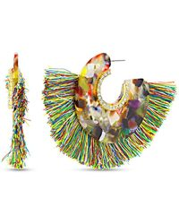 Catherine Malandrino Lucite Open Hoop Earring In Yellow Gold-tone Alloy - Metallic