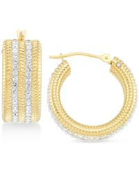 Signature Gold Swarovski Crystal & Diamond Accent Hoop Earrings In 14k Gold Over Resin, Created For Macy's - Metallic
