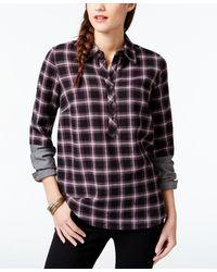 G.H.BASS - Colorblock Sleeve Plaid Shirt - Lyst