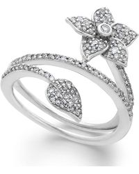 Macy's Diamond Wrap-around Flower Ring In Sterling Silver (1/2 Ct. T.w.) - Metallic